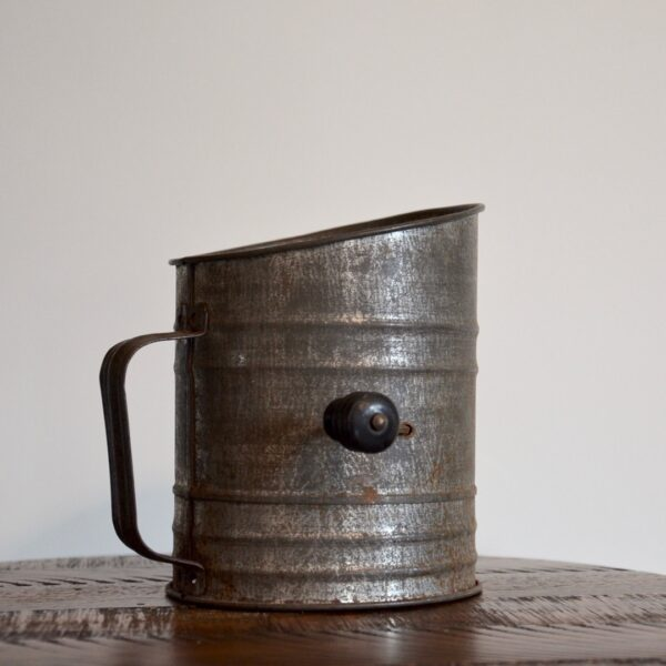 Antique Metal ACME Flour Sifter Side with Handle