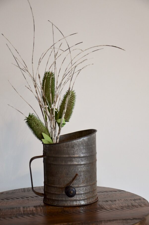 Antique Metal ACME Flour Sifter with Grass Decor