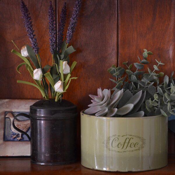 Shelf Scene with Repurposed Antiques