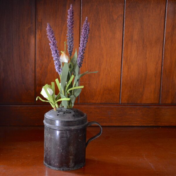 Tin Shaker with Lavender and White Flowers