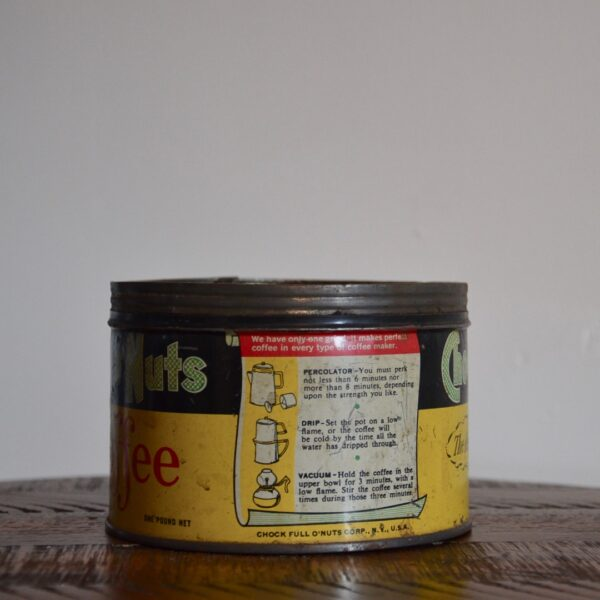 Vintage Chock Full O Nuts Coffee Tin Yellow Green Red Back