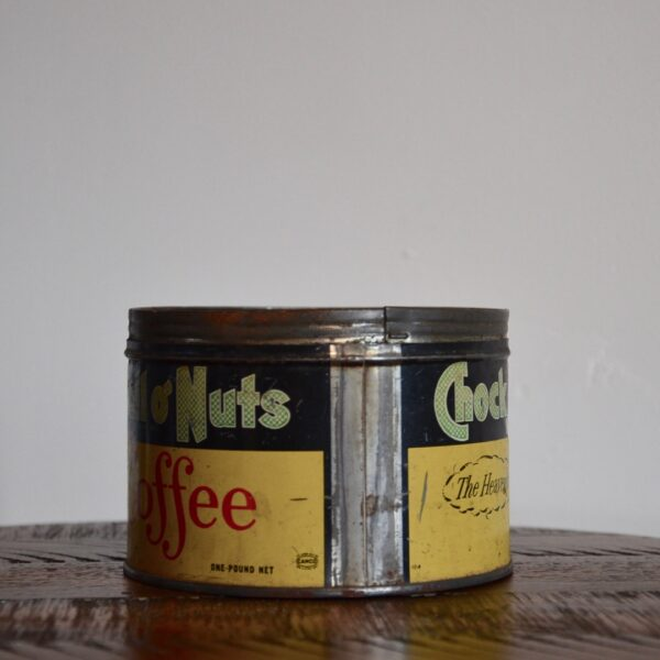 Vintage Chock Full O Nuts Coffee Tin Yellow Green Red Side