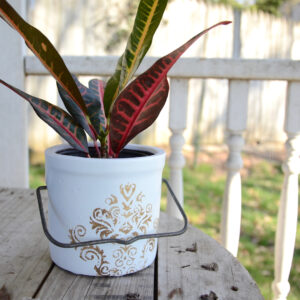 butter crock repurposed into a planter painted white with metallic decorative stencil and original metal handle pictured with potted plant inside
