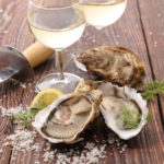 fresh oysters and wine