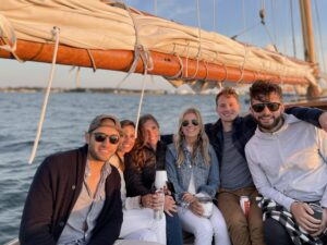 friends out on harbor cruise portland maine