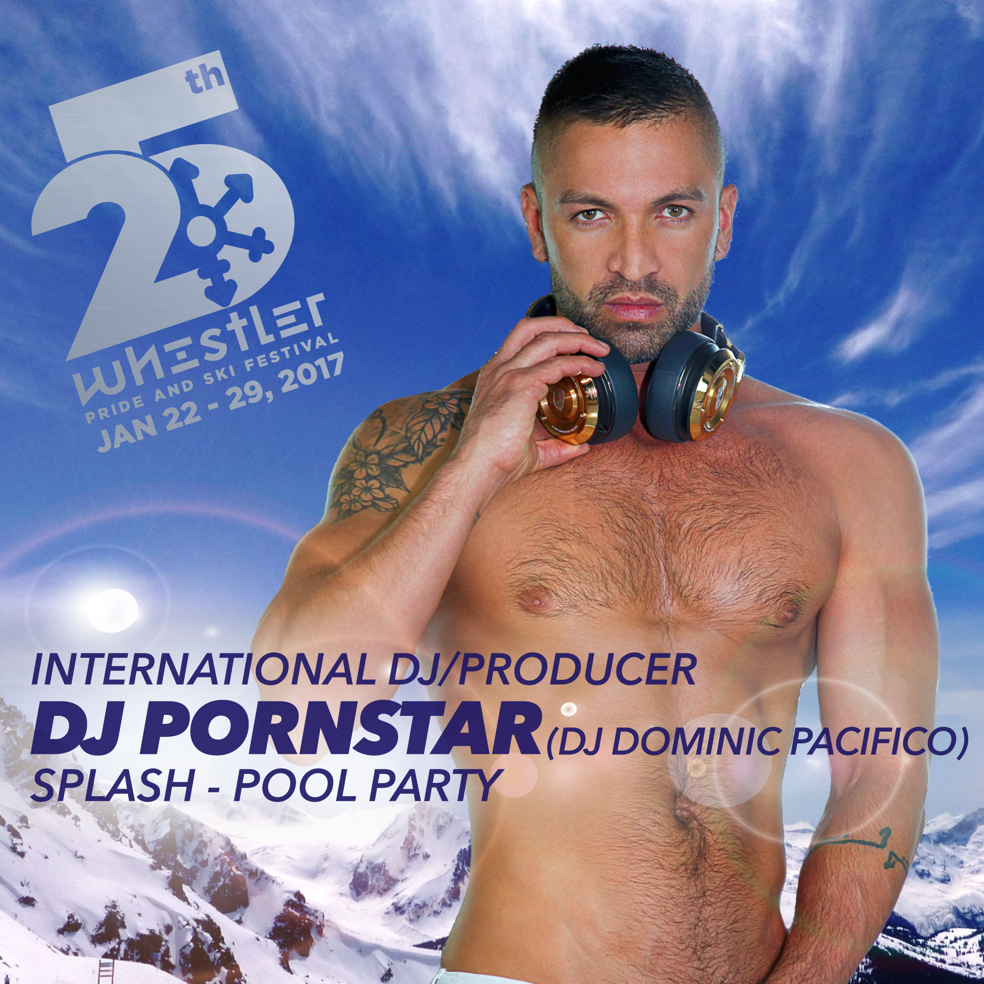 DJ Pacifico aka DJ Pornstar at Splash Pool Party Whistler Pride and ski festival