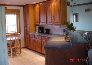 Hickory Cabinetry with angled counter
