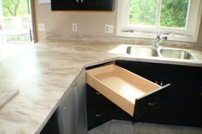 Angled corner drawers, Coffee Bean Cabinets