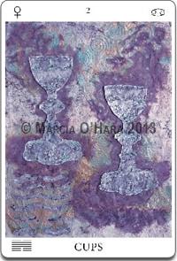 purple cutout paper tarot card two cups