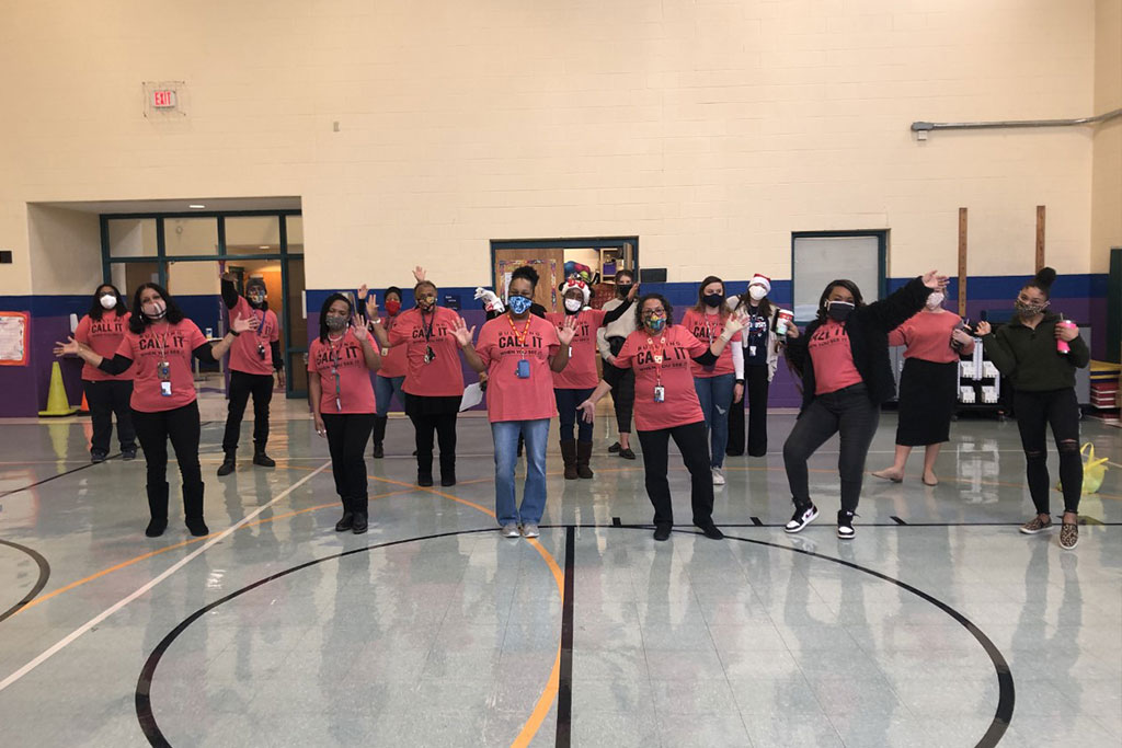 Banneker Elementary's teachers and staff dressed in Red Card shirts during Bully Awareness Spirit Week