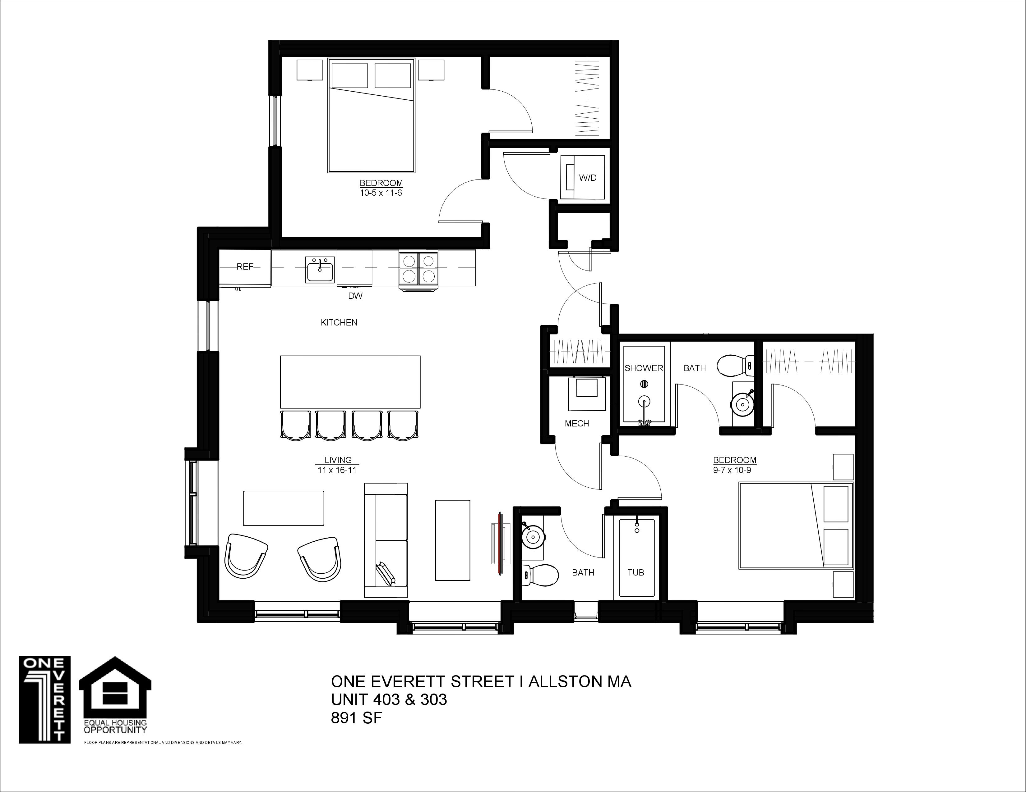 One Everett Two Bed (D)