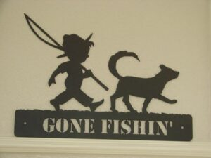 Gone Fishing Boy with Cat
