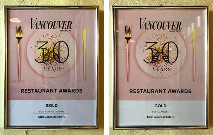 STEM Awarded Best New Restaurant and Best Japanese Restaurant by VanMag