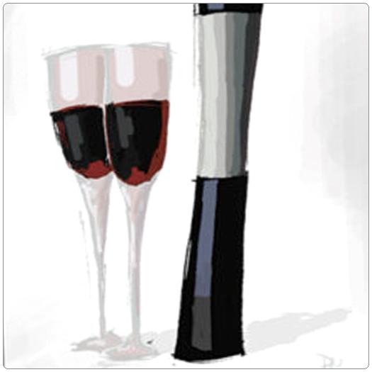 Toast of Breckenridge poster art wine glasses