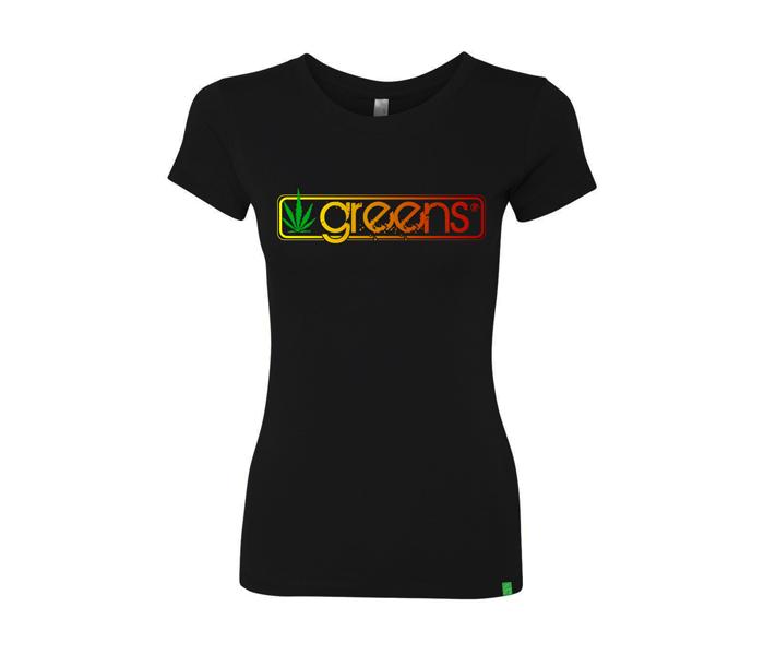 greens®brand-girls-sticks-design-black-tee-front