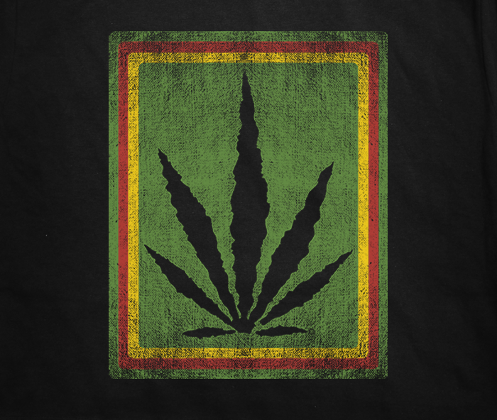 greensbrand Rasta Burlap design t-shirt closeup
