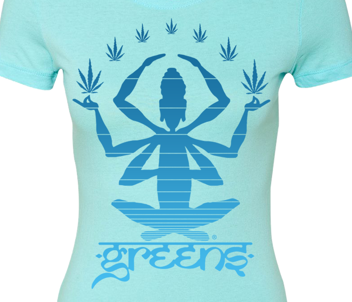 greensbrand girls meditate design cancun blue t-shirt closeup