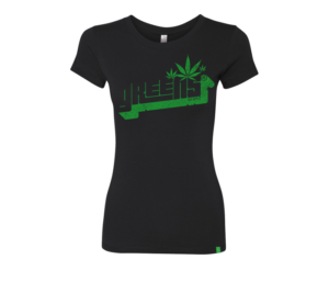 greens®brand-girls-Stampd-black-tee-front