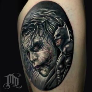 The Best Heath Ledger Joker tattoo in Northridge, San Fernando Valley best MD Tattoo Studio California Mike DeVries