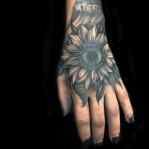 Best Black & Gray Sunflower tattoo in Northridge Matt Hildebrand