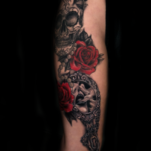 Best Roses and Skull Tattoo in Los Angeles Matt Hildebrand