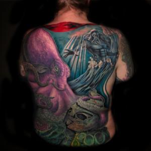 Best Underwater Back Tattoo in Northridge Matt Hildebrand, Octopus, Neptune