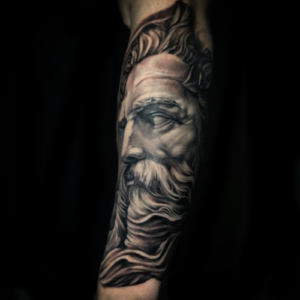 Best Black & Gray Zeus Statue Portrait in Los Angeles Matt Hildebrand
