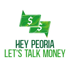 Hey Peoria Let's Talk Money - White Logo