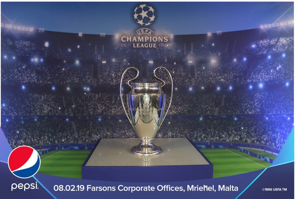 A typical Photomaker print portraying the EUFA Champions League Cup set up at SFC offices for the employees event.