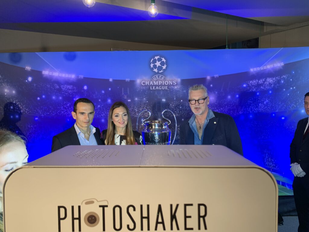 Sergio Tacchini Posing with Farsons CEO Designate Mr Norman Aquilina in front of a Photomaker Photobooth