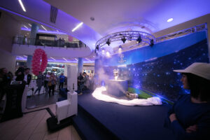 The grand reveal of the UEFA cup positioned in front of the Photomaker Photo Booth