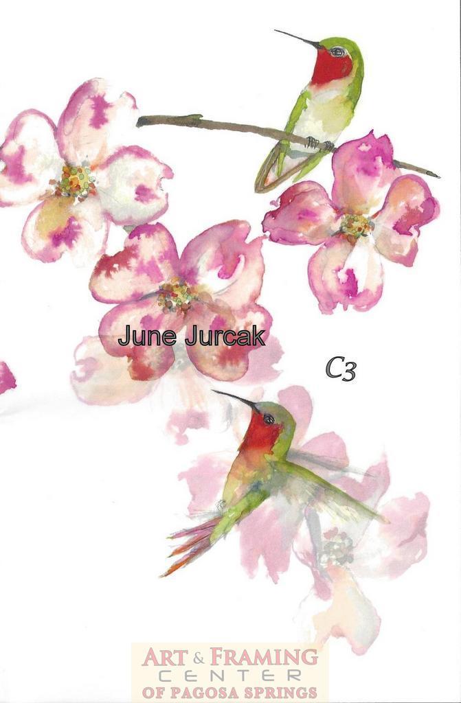 pink dogwood and hummingbirds card