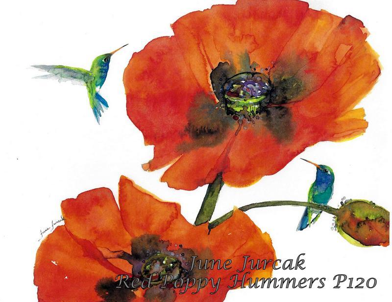 jj2016-24 red poppy hummingbirds p120