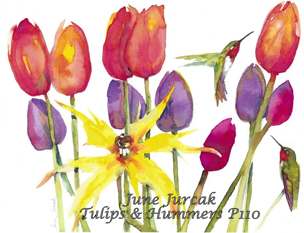 P110 tulips and hummingbirds