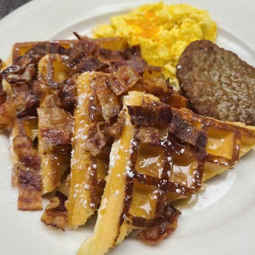 Bacon Maple Waffles with sausage and egg