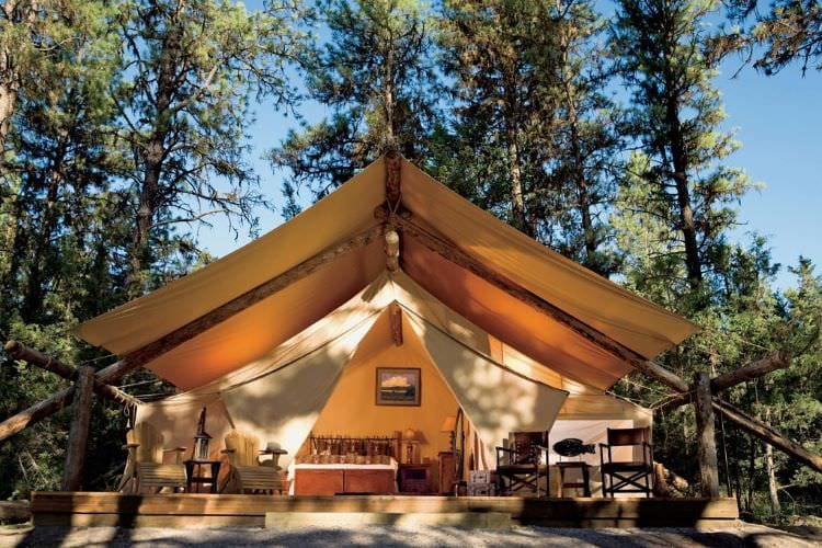Luxury Glamping Tent at the Resort at Paws Up in Montana
