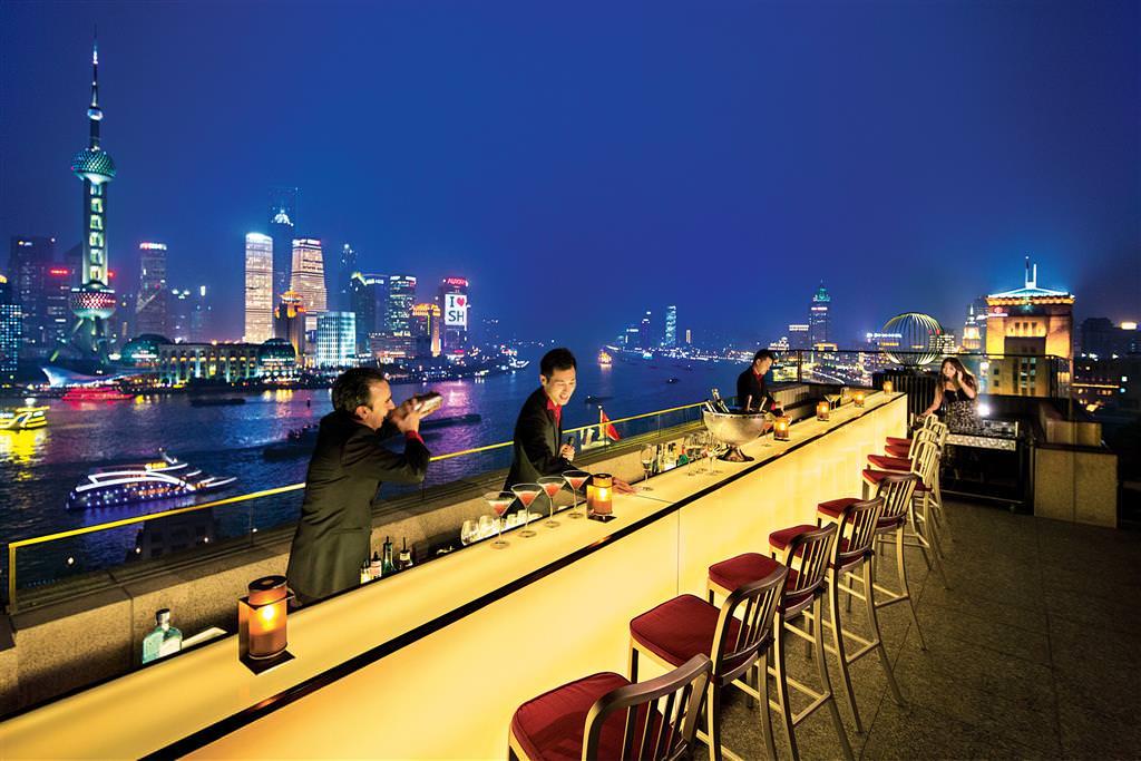 Views of the Shanghai Bund from Sir Elly's Bar at the Peninsula Shangri-La