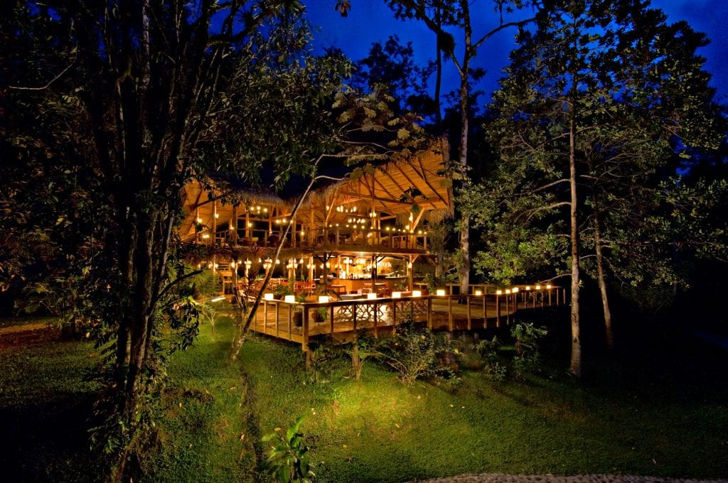 Candlelit main lodge at Pacuare