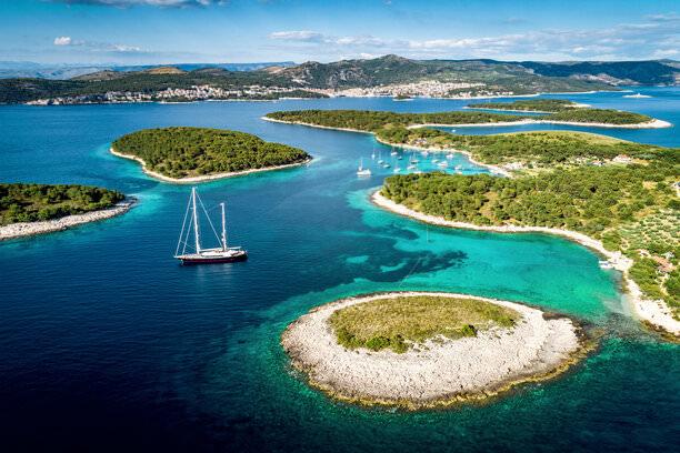 Aerial view of Paklinski Islands in Hvar, Croatia.