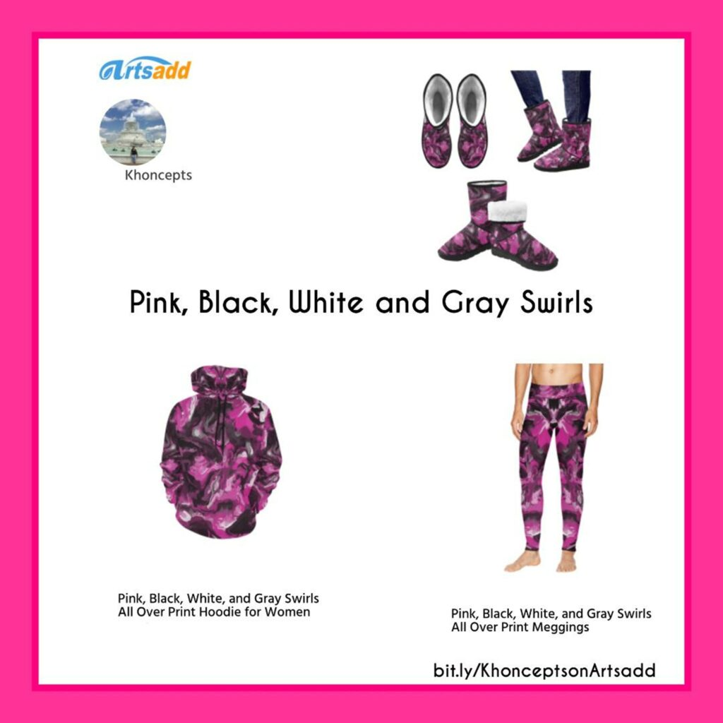Custom-color Pink, Black, White and Gray Swirls fashion wear