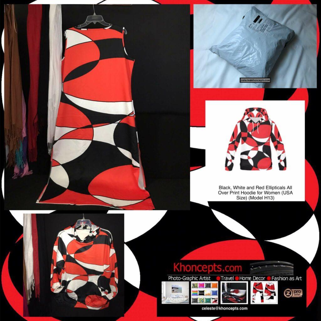 Black, White and Red Ellipticals art designed hoodie