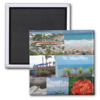 Colorful images of Sint Maarten magnet