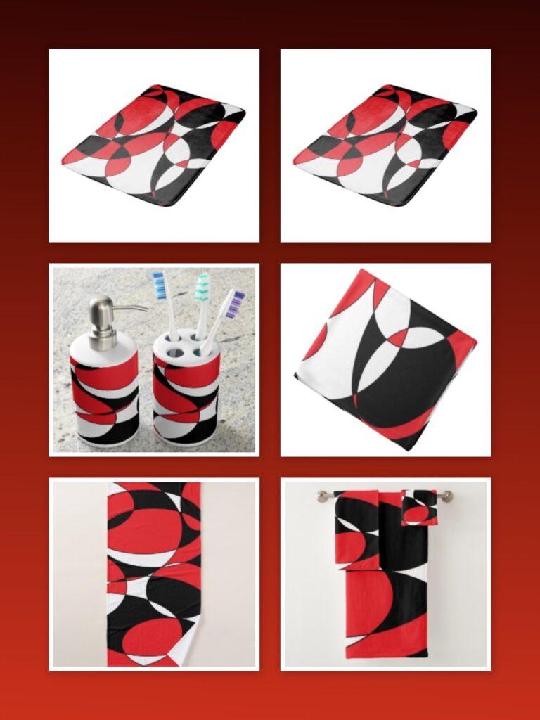 Black, White and Red bath decor