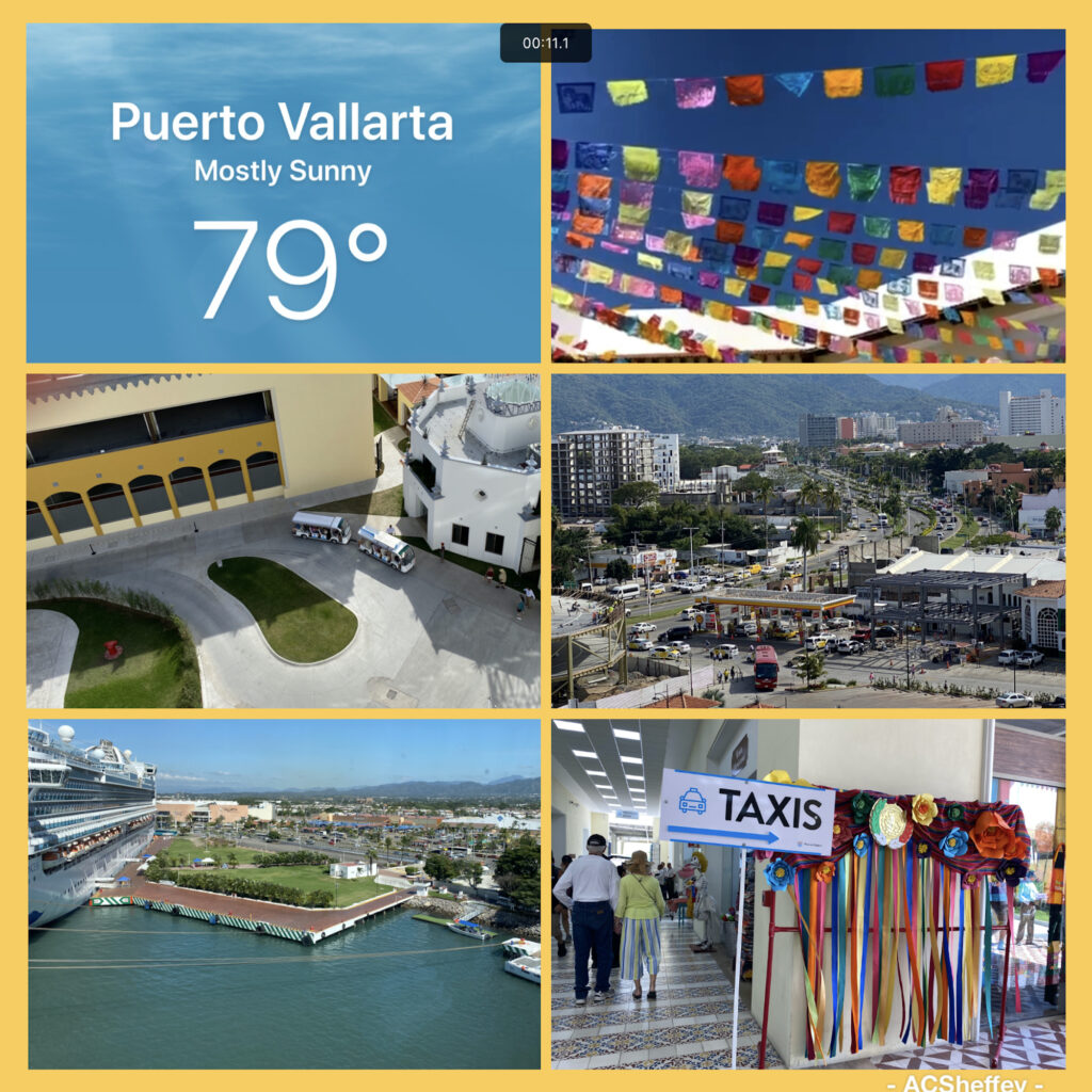 photo collage of cruise port in Puerto Vallarta, Mexico