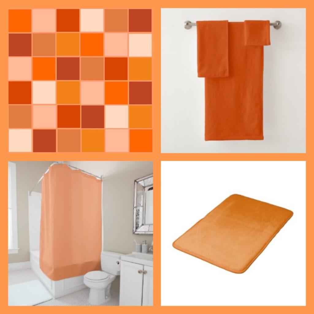 orange bath decor