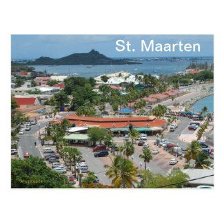 postcard image of Marigot Bay in St. Martin
