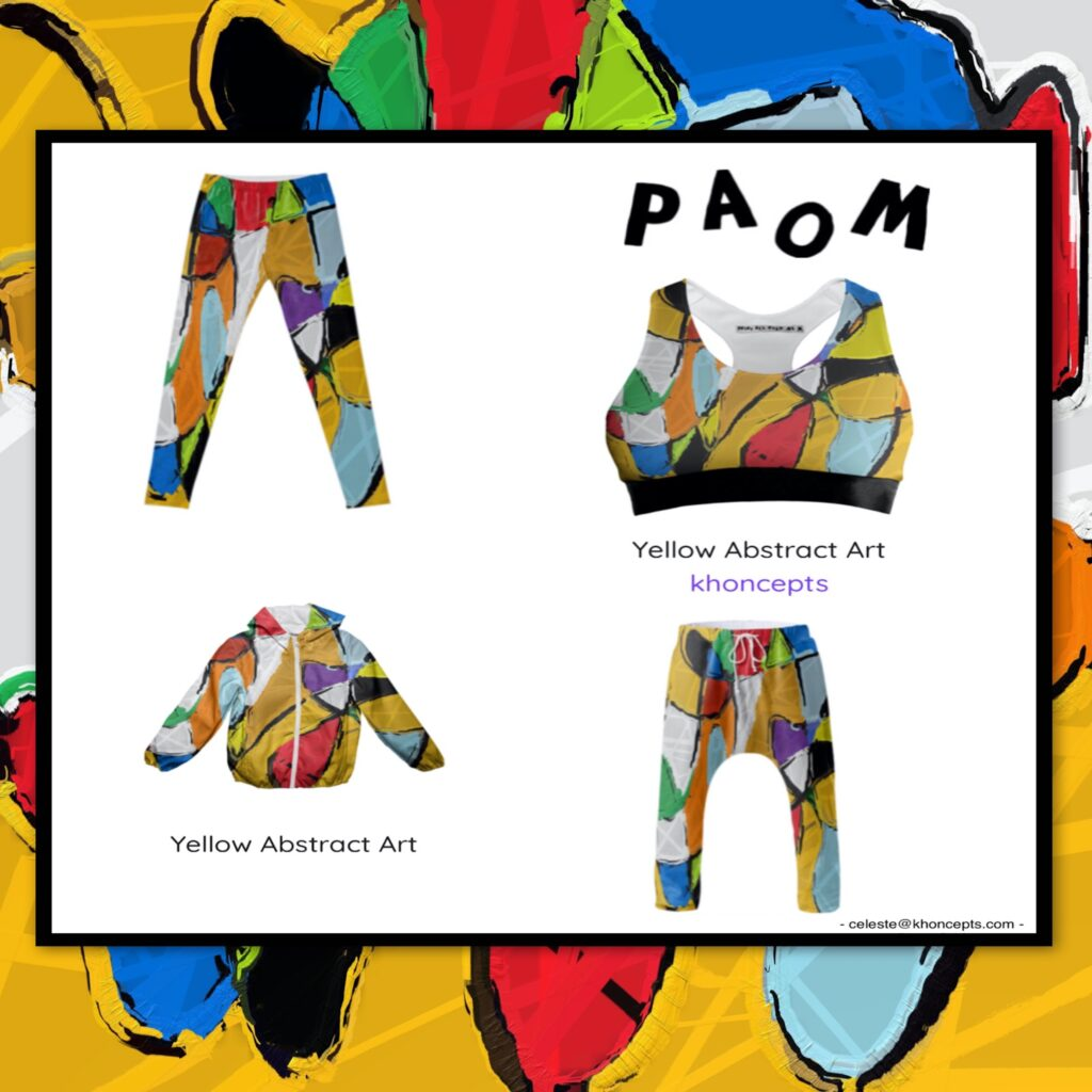 Yellow Abstract art fashion designs for men, women and children