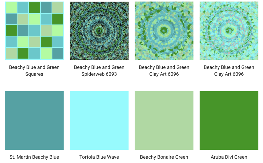 Blue and Green beach colors for throw pillows, wall clocks and shower curtains.