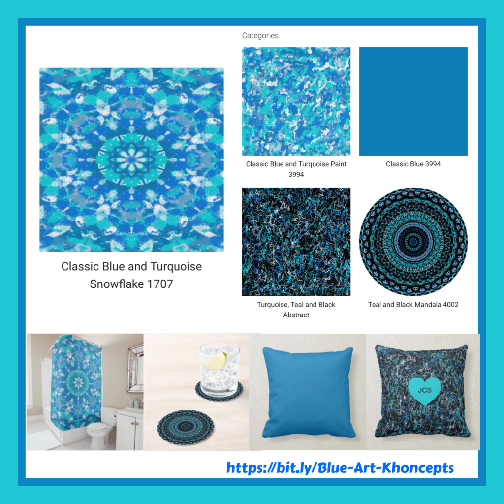 Turquoise and blue patterned home decor and gift products