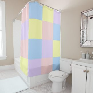 Pastel Spring Checkers shower curtain